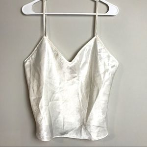 NWT VICTORIAS SECRET White Crushed Satin Tank Top